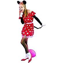 P'Tit Clown 89380 -  Disfraz de ratón, para mujer adulta, talla única, color negro y rojo