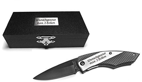 Mit Taschenmesser Box (Taschenmesser in Carbon Optik (im Holzetui) (Mit Gravur Messer + Box))