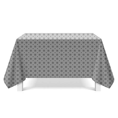 Daesar Tischtuch Abwaschbar Vintage Blumen Muster Grau 140x200 Tischdecke Polyester Stoff -
