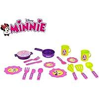 084144 Conjunto de 18 accesorios de cocina (platos – sartenes – cubiertos)con motivo de Minnie de Disney