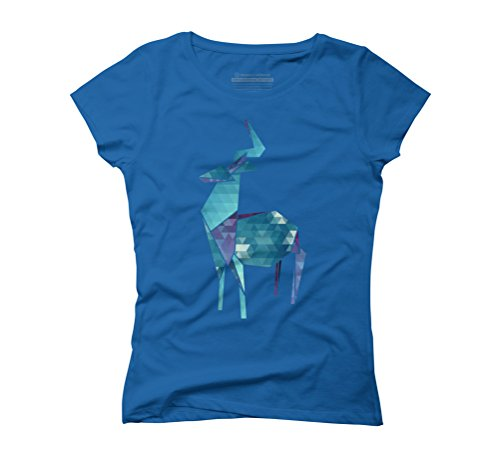 Geometric Deer Women's Graphic T-Shirt - Design By Humans Royal Blue