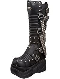 Demonia Unisex - Erwachsene New schwarz PU Pyramid Spikes Rock Gote vegan  Plattform Knie Boxer Stiefel… 7af865319e
