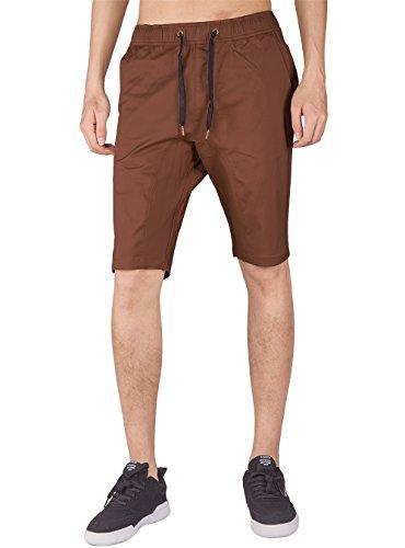 Italy Morn Herren Loose Shorts Hosen Rot Stretch-Dehnbund Baumwolle Twill Hose (XL, Dunkelbraun)