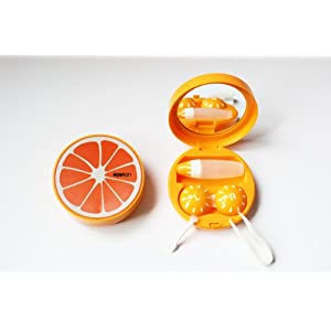 Kontaktlinsenbehälter Aufbewahrungsbehälter Etui Set Spiegel Früchte Obste NEU