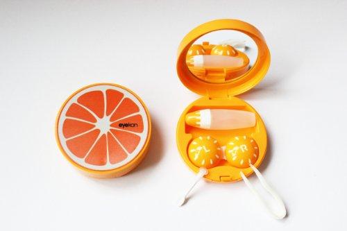 Kontaktlinsenbehälter Aufbewahrungsbehälter Etui Set Spiegel Früchte Obste NEU (Blutorange)