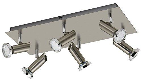 Trango 6-flg. LED Deckenleuchte Deckenstrahler in Edelstahl-Look inkl. 6x 3 Watt GU10 LED Leuchtmittel direkt 230V TG3093