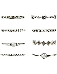 Young & Forever Tribal Muse Vintage Silver Plated Finger Ring For Women & Girls For Women- Set Of 8 (R30154) Diwali...