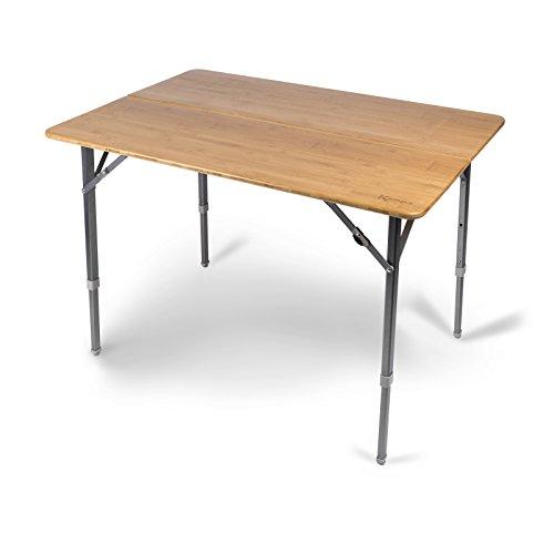Klapptisch mit wasserdichter, robuster Bambus Tischplatte 100x70cm • Campingtisch Gartentisch...