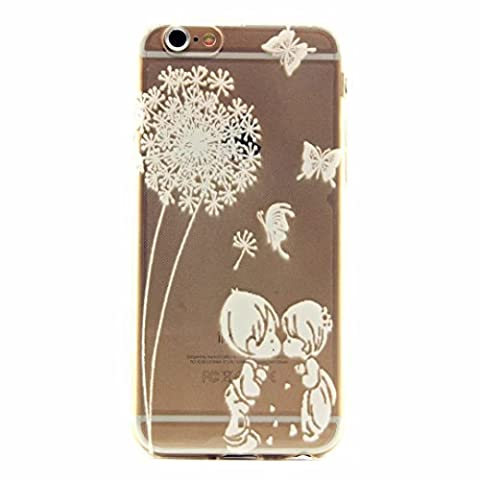 MUTOUREN iPhone 6/6S case cover Soft TPU Case ultra-thin feel good, 3D transparent mobile phone shell Protective Front and Back Full Body Shock-Absorption anti-scratch case-simple white pattern boy and girl kiss Feather Butterflies