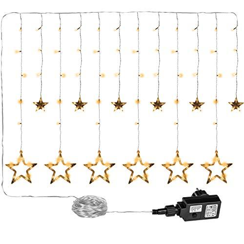 VOLTRONIC 12 Sterne 150 LED Lichtervorhang Lichterkette für innen und außen, erhältlich in warmweiss/kaltweiss/bunt, GS geprüft, Wasserdicht IP44, 8 Leuchtmodi, Outdoor