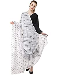 588f8652b4f GRACE DIVA Women s 2.5 Meter Small Polka Printed Cotton Dupatta (White