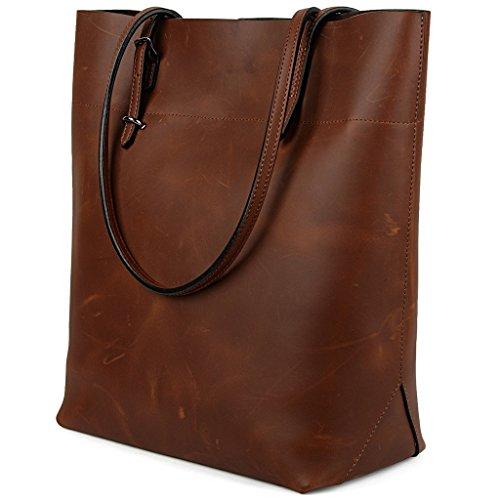 Yaluxe-Vintage-Stil-echtes-Leder-Handtasche-Shopper-Schultertasche-dunkelbraun