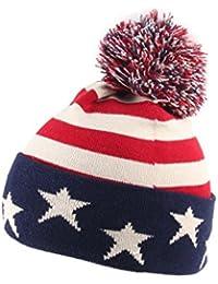 Alsino Bommelmütze USA Stars n Stripes Strickmütze Wintermütze