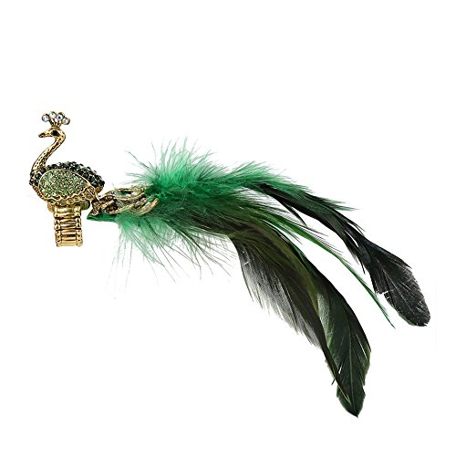 YouBella Green Gold Plated Peacock Feather Adjustable Ring for Women