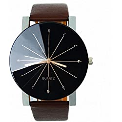 Mallom® Men Quartz Dial Clock Leather Wrist Watch Round Case Coffee