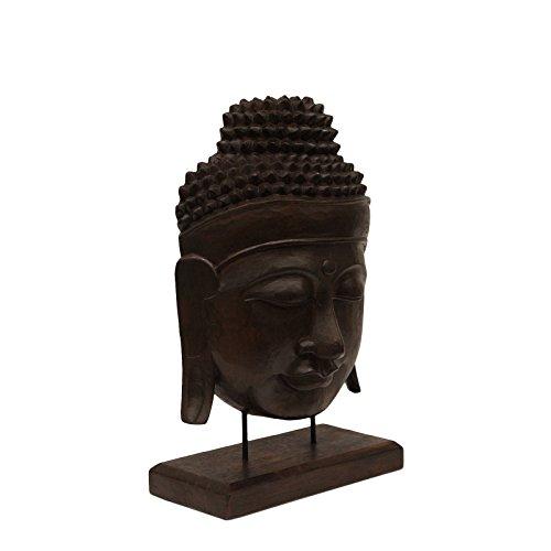 FaHome Buddha Relief ca. 50cm - Kopf Skulptur Maske auf Sockel Ständer Deko Statue Figur Albasia Holz Braun