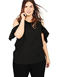 009b6f7af62 Koko Women s Plus Size Black Cold Shoulder Top with Frill Sleeves