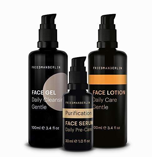 Reine Haut Kit für Männer von FRIEDMANBERLIN | Pflegeset mit Gesichtsreinigung, Serum mit Teebaumöl gegen fettige Haut & mattierende Gesichtspflege | Naturkosmetik 3er Set (100ml, 30ml & 100ml)