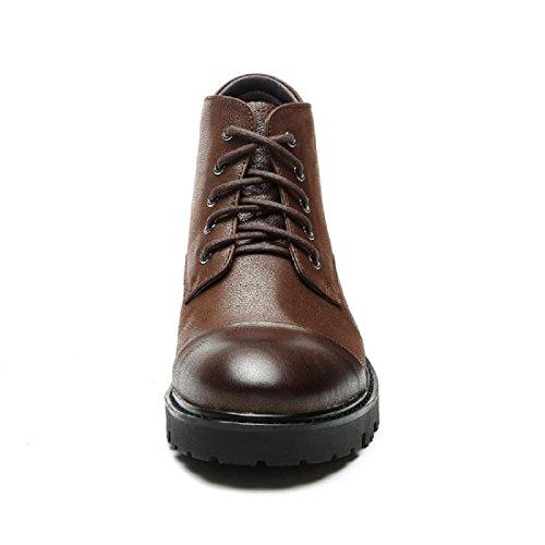 Uomo Inverno Moda Spessore inferiore Scarpe di pelle Aumenta le scarpe Antiscivolo Martin stivali All'aperto Scarpe casual euro DIMENSIONE 38-43 marrone