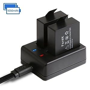 APEMAN Cámara Deportiva 1050mAh Batería Recargable 2pcs Cargador USB Adaptador para Apeman Cámara de Acción A60 / A66 / A70 / A80 / A77