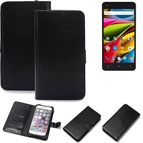 K-S-Trade Wallet Case Handyhülle für Archos 50b Cobalt Lite Schutz Hülle Smartphone Flip Cover Flipstyle Tasche Schutzhülle Flipcover Slim Bumper schwarz, 1x