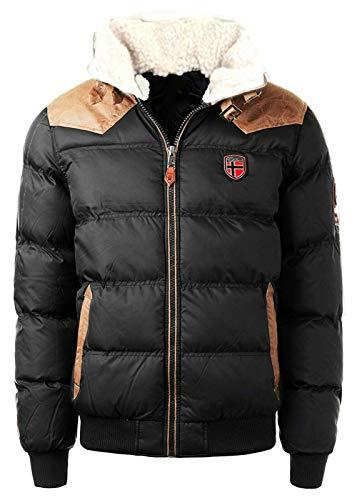 Geographical Norway warme Winterjacke Designer Herren Winter Stepp Jacke [GeNo-31-Schwarz-Gr.XL]