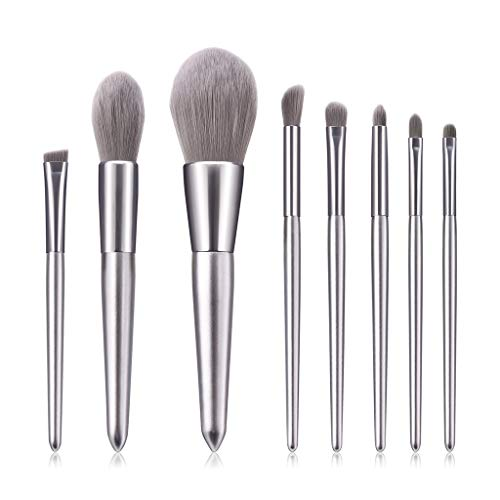 Pinceau de maquillage,Hunpta 8pc Ensemble d'outil de brosses de maquillage de beauté de fard d'oeil de mode de beauté (Silver)