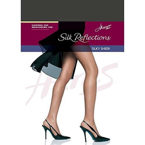 Hanes Silk Reflections Control Top Reinforced Toe Pantyhose Barely Black