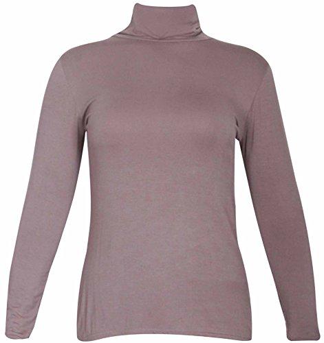 Nuovo da donna effetto tartaruga Polo collo elasticizzato Top da donna a maniche lunghe Everyday T-Shirt Tops le misure Plus Caffè