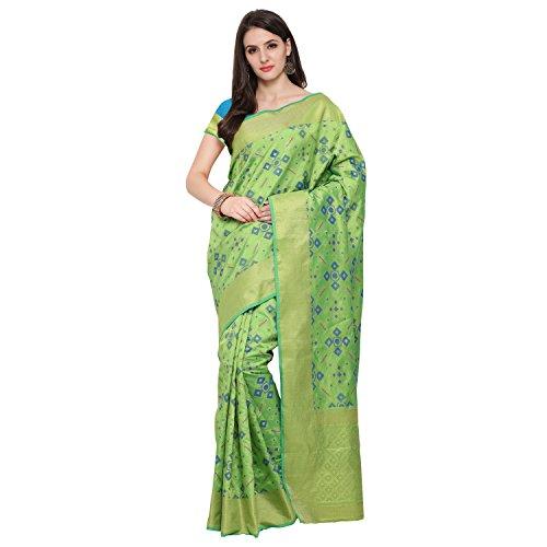 Shiya Poly Cotton Saree With Blouse Piece (Mayuri Patola 1 P Green_Green_Free...