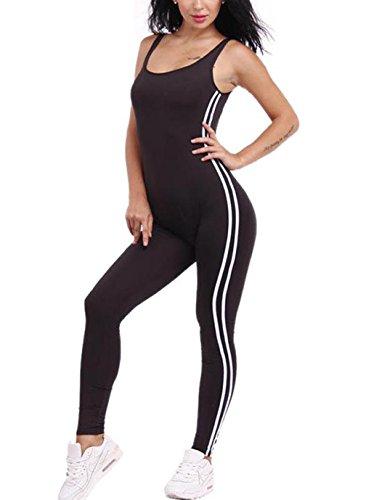 Chongerfei Damen Jumpsuit Gr. X-Large, schwarz Spandex Unitard Frauen