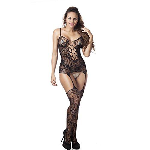 Binggong Dessous, Frauen Sexy Reizwäsche Fischnetz Sheer Open Crotch Body Strumpf Bodysuit Dessous (One Size, Schwarz) (Dessous Fischnetz-strümpfe)