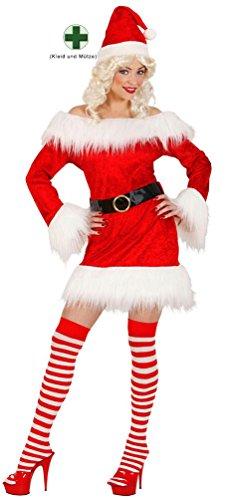 Kostüm Weihnachtsfrau Sexy Santa mit Mütze Weihnachten Damenkostüm Größe 38/40 (Santa-mützen)