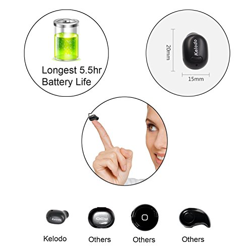 Kelodo Bluetooth Earphone Mini Wireless Earbud Headphone Tiny in-Ear Earpiece Hands Free Headset w/ Mic and 5.5 Hour Playtime for iPhone Samsung Galaxy Huawei Mobile Phones and Tablets[One Pcs]-Khaki
