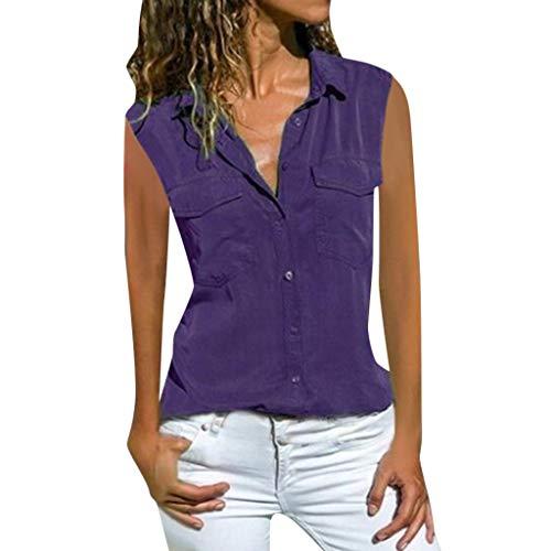 Momoxi Damen Casual feste ärmellose drehen unten Kragen-Taschen Knopf-Front-Hemd-Oberseiten,2019 Sommer Bluse ärmellos Fashion Partytop Violett 4XL