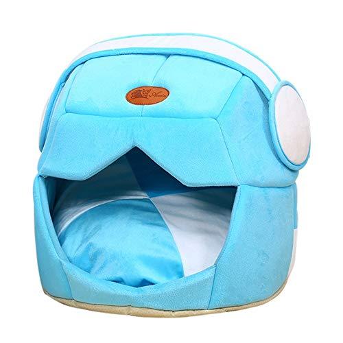 tbare Pet bed weichen warmen Raum Helm Haustier Katze Hundebett Cave Puppy Schlafmatte Katze Sand Decke Cat's home (Color : Blue, Size : 49x43cm) ()