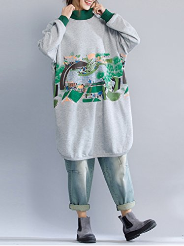 ELLAZHU Femme Automne&Hiver À La Mode Manches Longues Col Montant Manches Longues T Shirt Robe GA1102 Gris