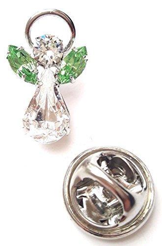 Kristall Elements Geburtsstein Schutzengel Pin-aus mit Swarovski Kristalle-August Peridot (Schutzengel-pin)
