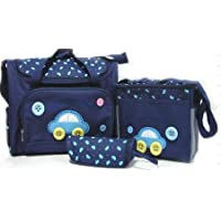 4pcs Car Cute as a Button Embroidery Baby Nappy Changing Bag (Dark Blue)