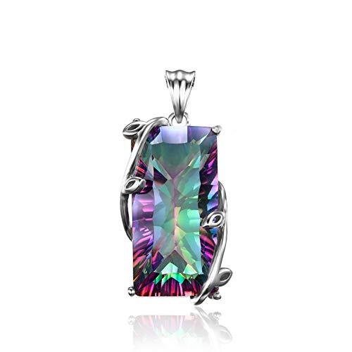 Yazilind Farbstreifen Form Zirkonia Anhänger für Frauen Legierung Schmuck Halskette Zubehör Geschenk (Nur Anhänger)