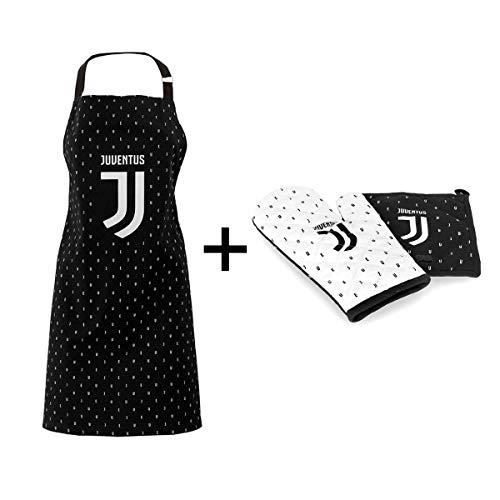 Fc juventus set guanto da cucina, da forno, barbecue in cotone + più presina + grembiule con pettorina ufficiale