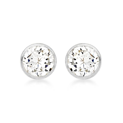 Carissima Gold Damen-Ohrstecker 18ct 4mm Round Stud Earrings 750 Weißgold Zirkonia transparent Rundschliff - 7.58.9859