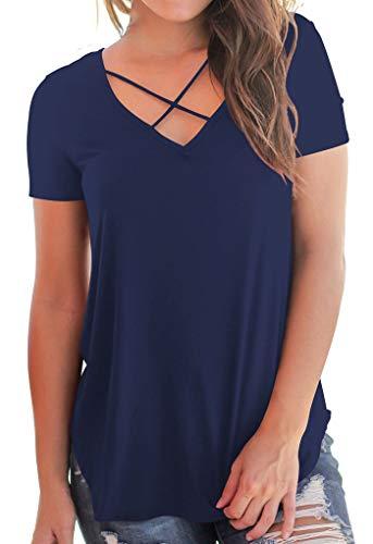 Sexy Tshirt mit Kurz Ärmel Lässig Oberteile Sweatshirt Blusen Damen Top Blau M - Blau Kurze Ärmel T-shirt Top