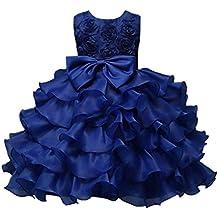 K-youth® Niña Vestidos De Fiesta Rose Floral Bowknot Tutú Princesa Vestidos ...