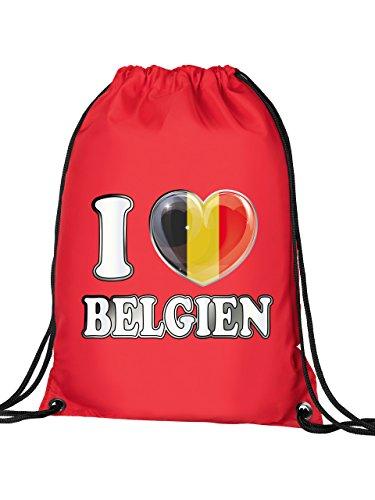 Golebros I Love Belgien 4780 Fussball Fanartikel Geschenk Fan Turnbeutel mit verstärkten Ecken und Metallösen Rot