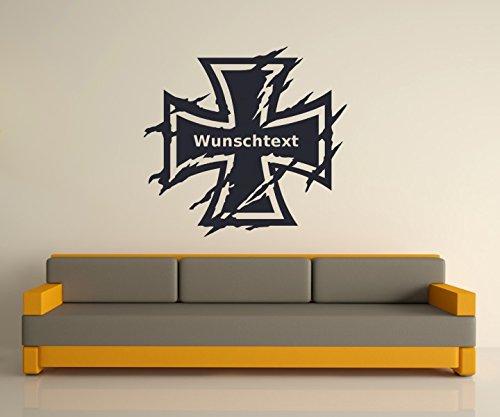 Wunschtext Wandtattoo XXL Eisernes Kreuz Wand Tür Aufkleber Text Sticker Bundeswehr Iron Cross Oldschool Car 2P084, Hohe:100cm;Farbe XXL:Schwarz Matt