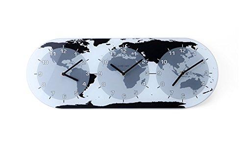 """NeXtime Wanduhr """"MONDIAL"""", mit 3 Ziffernblätter, aus Glas, 50 x 18,6 cm"""