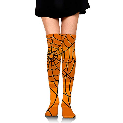 XIUZHIZH Girls Women Warmer Thigh Cotton Thick Compression Socks Athletic Travel Football Outdoor Socks Over Knee High Long Tube Halloween Spider Web Pumpkin Color Stockings (Spider Pumpkins, Halloween Mann)