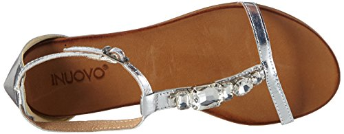 Inuovo - 6200, Scarpe col tacco con cinturino a T Donna Argento (Argento (Silver))
