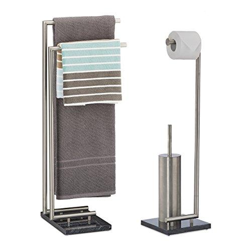 2 tlg. Badezimmer Set PIERRE, Handtuchhalter ohne Bohren, Toilettenpapierhalter freistehend, Klobürstenhalter aus Marmor